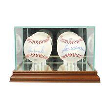 *NEW Double Baseball Glass Display Case MLB Walnut Molding FREE SHIPPING Made US