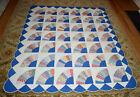 Vintage Blue Grandmother's Fan Applique Quilt Scalloped Border 73x86