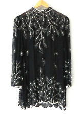 Vtg Diane Freis Tunic Hand Beaded Silk Black Long Sleeve Size XL
