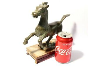 Vintage Bronze Figurine of Flying Horse Stood on a Swallow with Wood Stand