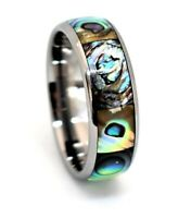Tungsten Carbide Silver Wedding Band,Men's Tungsten Ring,Abalone Shell Inlay
