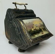Antique Painted Toleware Coal Scuttle with Oil Painting of Castle