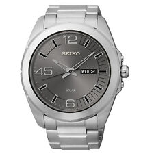 SEIKO SOLAR DRESS DAY & DATE GREY DIAL STAINLESS STEEL MEN'S WATCH SNE273 NEW
