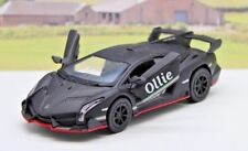 Personalised Name BLACK Lamborghini Boys Dad Toy Car Present Stocking Filler New