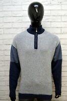 Maglione Pullover Grigio Blu Lana Uomo FILA Taglia XXL Felpa Sweater Cardigan