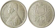 MONACO   ,  LOUIS  II  ,  20  FRANCS  1947  ,  FLEUR  DE  COIN