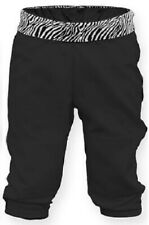 SOFFE GIRLS PULL UP SOFTBALL TBALL PANTS BLACK ZEBRA WAIST ELASTIC BOTTOM XS NWT
