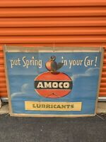 1950s AMOCO Service lubricants Sign Banner Gas Station 43x34