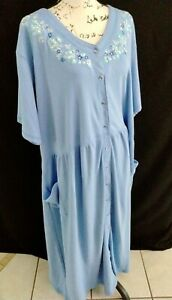 Only Necessities Blue Floral Cotton Maxi House Dress Robe Sz 30/32 Snap Up z22