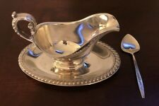 Vintage Silverplate Gravy Boat with Spoon, International Deep Silver, Excellent