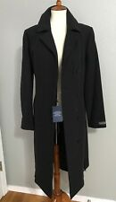 NWT $700 Cole Haan Italian Wool Blend Belted Notch Collar Maxi Coat 12 Charcoal