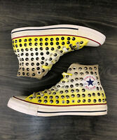 Converse All Star scarpe uomo Chuck Taylor High blonde borchiata Handmade Italy