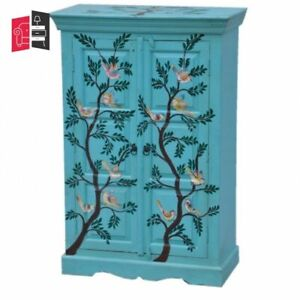 Pandora Hand Painted Cabinet Blue Birds Floral (MADE TO ORDER)