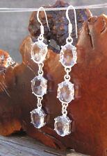 "WhiteTopaz Gemstone 3 Oval Settings Silver Layered Dangle Earrings 3.04""Weddings"