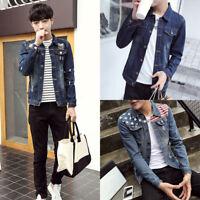M-XXXL Men's Slim Coat Denim Jacket Lapel Thicken Outerwear Tops Fit Vest Jean