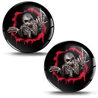 2 Resinati 3D Adesivi Skull Stickers Cranio Dito Medio Teschio Auto Moto KS 12