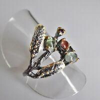 Fine Art Cabochon Amethyst Turmalin Silber Ring 925 Black Rhodium Gold 18,1mm 57
