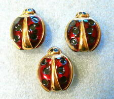 3 Czech Crystal Glass Buttons #G007 - 27 mm - UNIQUE!! LADYBUG!!!!