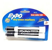 Expo Low-Odor Dry Erase Markers, Chisel Tip Black 2 ea intense color (pack of 2)