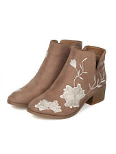 New Women Faux Suede Embroidered Stacked Heel Booties - 18073 By Yoki Collection