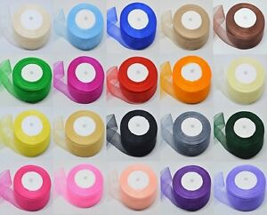 25 Yards ORGANZA RIBBON - Woven Edge - Choose From 2 Widths & Various Colours
