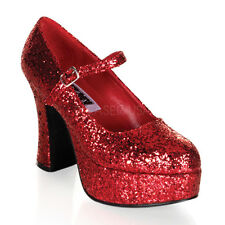 Red Glitter Dorothy Ruby Slippers Chunky Heels Drag Queen Costume Shoes 12 13 14