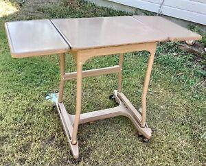 VTG HON Mid Century Modern Brown Drop Leaf Rolling Typewriter Stand Table cart