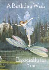 HAPPY BIRTHDAY GREETINGS CARD BEAUTIFUL FAIRY ANGEL GIRL ON DRAGONFLY