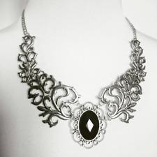 Gothic silver metal short Necklace Black faceted glass gem Baroque Filigree