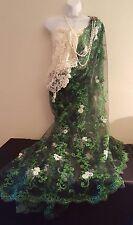 Green & Ivory Embroidered Lace Lehenga Sari Saree Wrap Dress Bridal Wedding Gown