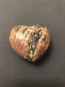Reddish Purple & Black Heart Rock Small Home Decor