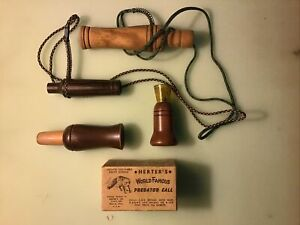 Lot of Three (3) Vintage Unmarked Working Wood Hunting Game Calls Plus Herter's