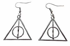 Harry Potter Deathly Hallows Silvertone French Wire Earrings