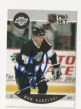 90/91 Pro Set Autographed Hockey Card Bob Kudelski Los Angeles Kings