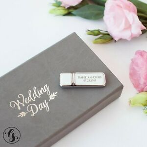 Personalized USB Flash Drive & Box Keepsake Wedding Gifts Photo Album Storage