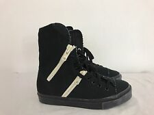Y'S YOHJI YAMAMOTO Black Canvas Lace-Up Espadrille Ankle Zippers Boot Size 5