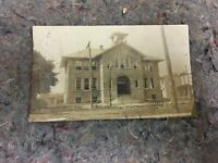 1912 RPPC Real Photo Postcard of Building With Note About Typhoid