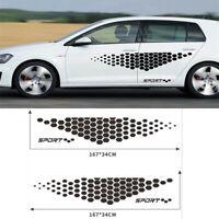 2x Car Door Side Stickers Decals Black Hexagon Look Decorative Trim Universal