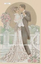 """Counted Cross Stitch Art Deco Couple """"The Wedding"""" -COMPLETE KIT No. 1-117"""