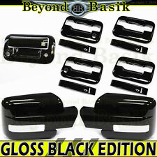 2009-2014 Ford F150 GLOSS BLACK 4 Door Handle COVERS+Mirror w/TS+Tailgate w/Cam