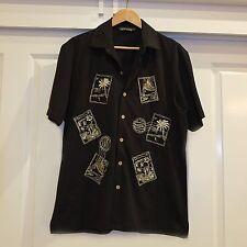 Black Mens Rockabilly Shirt, Vintage Shirt, Hawaiian Shirt