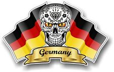 Mexican Sugar Skull & Germany German Flags vinyl car Bike helmet sticker decal