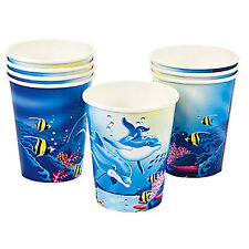 DOLPHIN 9oz PAPER CUPS (8) ~ Birthday Party Supplies Beverage Drinking Ocean Sea