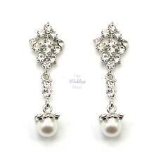 Bridal Wedding Prom Silver Crystal & Pearl Drop Dangle Vintage Earrings E09