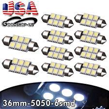 10Pcs Cool White 36MM 5050 6SMD Festoon Car Interior Dome LED Light bulbs DE3425