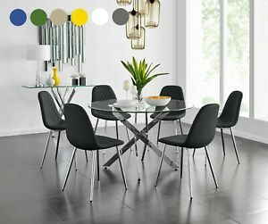 NOVARA Chrome Large Round Glass Dining Table And 4 6 Faux Leather Dining Chairs
