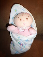 """Doll Baby Thermal Swaddle Blanket Eden Pink Plush 6"""" Girl Rattle Security Lovey"""