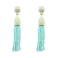 Boucles d`Oreilles Mini Perle Pompon Tassel Fait Main Artisanal Bleu Vert AA21