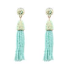 Boucles d'Oreilles Mini Perle Pompon Tassel Fait Main Artisanal Bleu Vert AA21