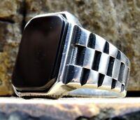 Turkish 925 Sterling Silver flashy black onyx stone mens ring ALL SİZE usa 03